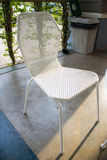 White metal chair. With  sunlight Stock Photo