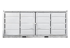 White metal container. With doors isolated on white. Front view Royalty Free Stock Image
