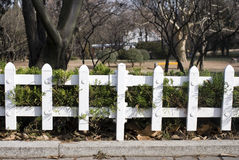 White metal fence of the garden Stock Photography