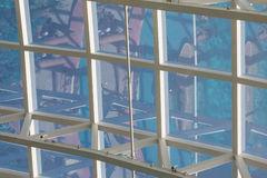 White Metal Grid with Glass Roof Stock Photo