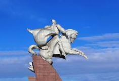 White metal monument of the great commander sitting on a horse i. Monument is a figure of the great commander, twice Hero of the Soviet Union, Isse stock photo