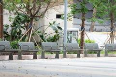 Metal garden chair in the garden royalty free stock photo
