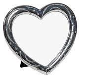 White metal photo frame with cristall in form of heart Stock Photography