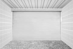 White metal roll shutter door Stock Images