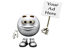 White Metal Sign. A smiling bright white metal emoticon holding a sign just right for your ad.  Computer Generated Image, 3D models Royalty Free Stock Photography