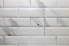 White metro ceramic tile background. White marble metro ceramic tile texture, modern background Stock Photos