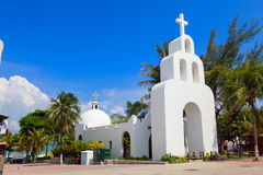 White Mexican church beside the beach Stock Images