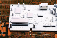 White microelectronics background chips Royalty Free Stock Image