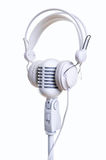 White microphone and headphones Stock Images