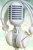 White microphone and headphones Royalty Free Stock Photography