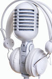 White microphone and headphones Royalty Free Stock Image