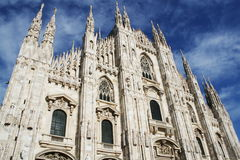 White Milan Cathedral in Gothic style Stock Images