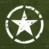 White military star on green metal Stock Photo
