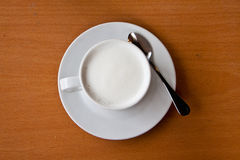 White milk beverage in cup Royalty Free Stock Image