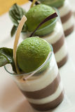 White and milk chocolate mousse with mint sorbet Royalty Free Stock Images
