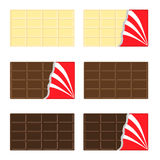 White, milk, dark chocolate bar icon set. Opened red wrapping paper foil . Tasty sweet dessert food. Rectangle shape Horizontal pi Stock Images