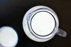 White milk in the glass with the jug on the black background Royalty Free Stock Image