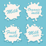 White milk splash blot vector set. Drink element. royalty free illustration
