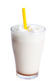 White milkshake with straw Royalty Free Stock Photo