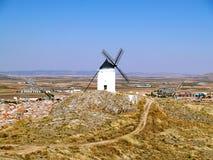 White mill in Castilla la Mancha, Spain Royalty Free Stock Image