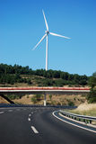 White mill of a wind power plant Royalty Free Stock Images