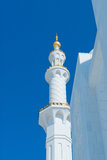 White Minaret with Gold Details Royalty Free Stock Images