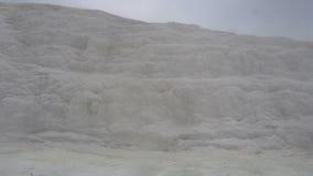 White mineral mountain in Pamukkale,Turkey. White mineral mountain in Pamukkale, Turkey stock video footage