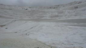 White mineral mountain in Pamukkale,Turkey stock footage