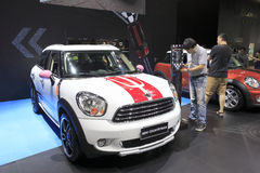 White mini countryman car Royalty Free Stock Photo
