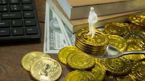 White miniature and gold coin bitcoin abstract image close up b stock photo