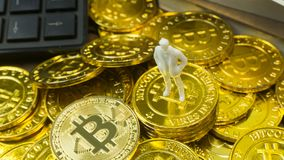 White miniature and gold coin bitcoin abstract image close up b royalty free stock photos