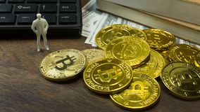 White miniature and gold coin bitcoin abstract image close up b royalty free stock photography