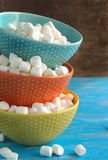 White Miniature Marshmallow in Bowls Stock Photo