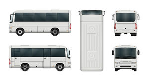 White minibus template. White mini bus vector template. Isolated city minibus. All elements in the groups have names, the view sides are on separate layers Stock Photo