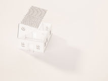 White minimal house opened roof with shadow and copy space, 3d rendered Stock Photography