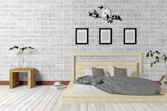 White minimal and loft style bedroom interior in simple living concept Royalty Free Stock Photos