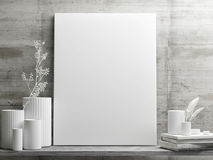 White minimalism design with mock up poster on retro concrete wall. 3d illustration Royalty Free Stock Photos