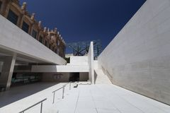 White minimalist architecture of cultural center CaixaForum in Barcelona royalty free stock images