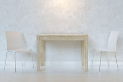 White Minimalist Dining Room With Wooden Table And Plywood Chairs With Lighting Royalty Free Stock Photo