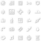 White minimalist icon set Royalty Free Stock Images