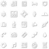 White minimalist icon set Royalty Free Stock Images