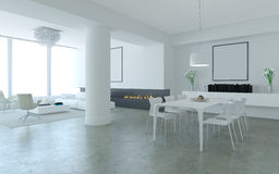 White minimalist living and dining room. White minimalist lounge style living and dining room with fireplace Stock Photo