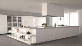 White minimalistic kitchen. Interior design Stock Photos