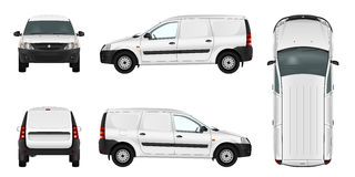 White minivan template. Blank vector delivery van. Stock Photography