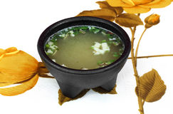 White Miso soup on floral tablecloth Stock Images