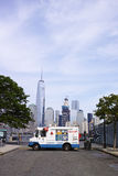White Mister Softee ice cream truck in Jersey City with New York Stock Photo