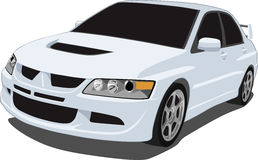 White Mitsubishi Evolution. A Vector .eps illustration of a Japanese Mitsubishi Evolution sports sedan. Saved in layers for easy editing. See my portfolio for stock illustration