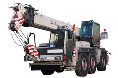 White mobile crane. White mobile crane on white background, isolated, with clipping path Stock Image