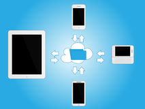 White Mobile Devices Sharing Information Stock Photos