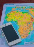 Mobile phone and area map for advertising royalty free stock photos